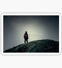 The mountain wanderer. Hipster, dark colors Sticker