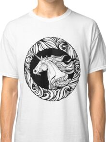 Image of unicorn's head in floral style frame. Classic T-Shirt