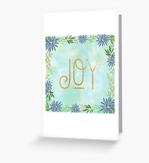 JOY,gold text,typography,seasonal,happy holidays,christmas,floral,flowers,water color, background,modern,trendy Greeting Card