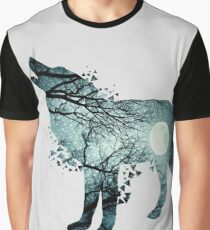 Illustration of wolf silhouette. Double exposure with photo of a full moon and trees. Poster for nature lovers Graphic T-Shirt