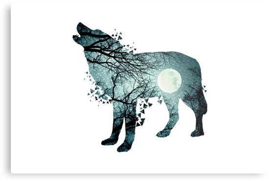 Silueta Lobo: Lienzos Metálicos «Ilustración De La Silueta Del Lobo