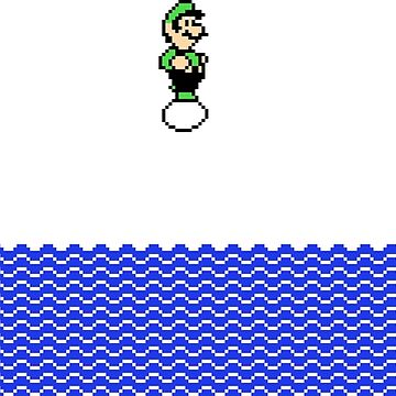 Luigi Floating on an Egg Over a Sea by Delightype