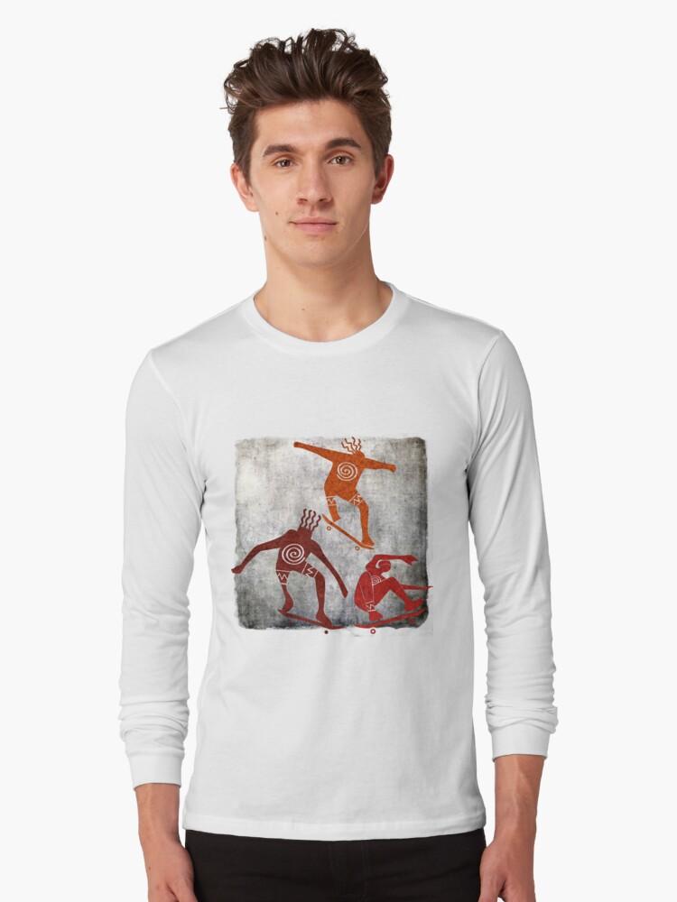 Skateboard Petroglyph Long Sleeve T-Shirt Front