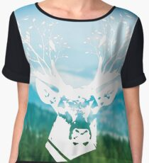 The deer head with colorful forest double exposure effect (winter mountains). Deer horns with flowers and birds Chiffon Top