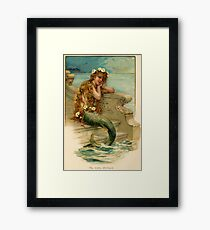 Vintage young mermaid from a bath salts advert Framed Print