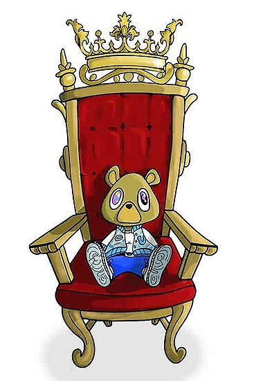 kanye west graduation bear on throne posters by atparker redbubble