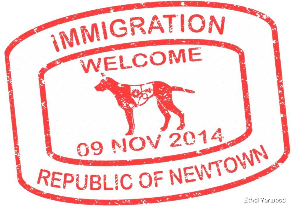 Republic of Newtown - 2014: Sticker Red by Ethel Yarwood