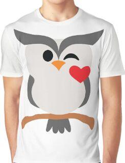 Night Owl Emoji Flirt and Blow Kiss Face Graphic T-Shirt