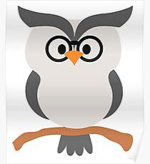 Night Owl Emoji Nerdy Noob Glasses Face Poster