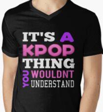 Ein KPOP THING - SCHWARZ T-Shirt mit V-Ausschnitt für Männer