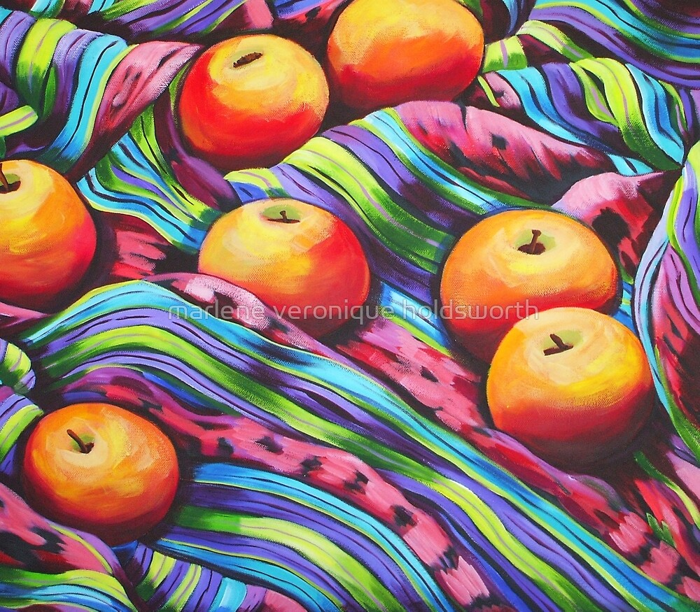 Fruit on Striped Cloth by marlene veronique holdsworth