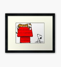 Geek Calvin And Hobbes Tiger Sleep On Doghouse Framed Print