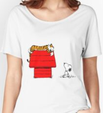 Geek Calvin And Hobbes Tiger Sleep On Doghouse Women's Relaxed Fit T-Shirt