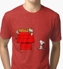 Geek Calvin And Hobbes Tiger Sleep On Doghouse Tri-blend T-Shirt