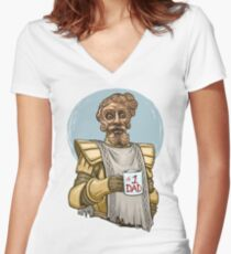 Giant Dad Women's Fitted V-Neck T-Shirt