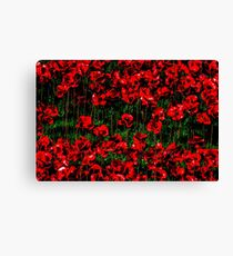 Poppy fields of remembrance for WW1 at Tower of London Canvas Print