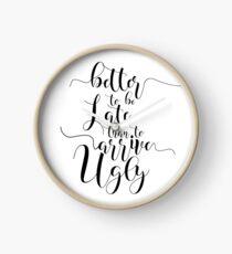 MÄDCHEN ROOM DECOR Badezimmer Dekor Badezimmer Zeichen besser spät zu sein als ankommen hässliche Typografie Print Geschenk für ihre Make-up Zitat Zitat Drucke Uhr