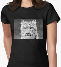 Snow Leopard Portrait Black and White Women's Fitted T-Shirt
