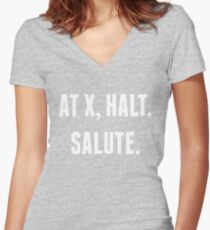 At X, Halt.  Salute. Women's Fitted V-Neck T-Shirt