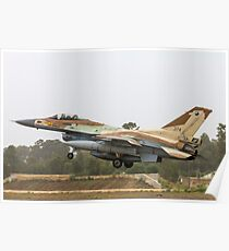 Israeli Air Force (IAF) F-16C (Barak) Fighter jet at take off Poster