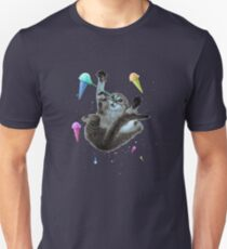 Cat in an ice cream universe, space, shooting laser beams, funny  T-Shirt