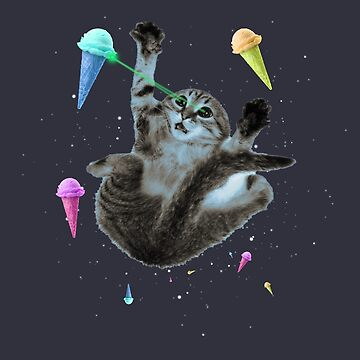 Cat in an ice cream universe, space, shooting laser beams, funny  by MustLoveAnimals