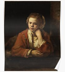 Girl at a Window by Rembrandt,  Poster