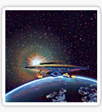 Nebula class passes over earth Sticker