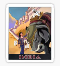 INDIA; Vintage Travel and Tourism Advertising Print Sticker