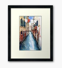 Canal and Washing Line, Venice Framed Print