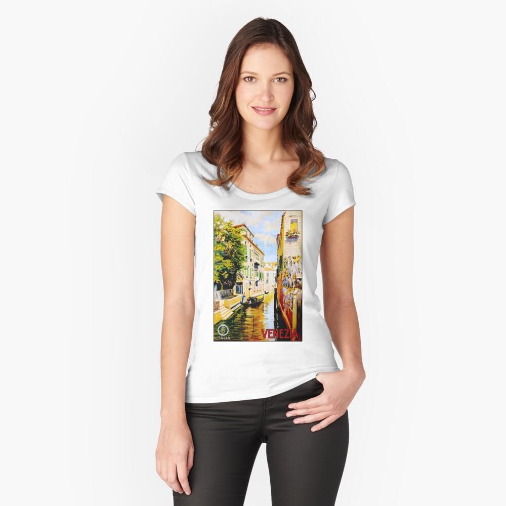 Venedig-Kanäle; Vintage Reise Werbung drucken Tailliertes Rundhals-Shirt