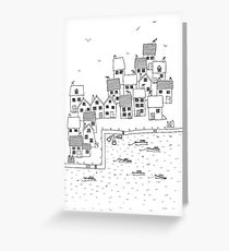 Harbour Sketch Greeting Card