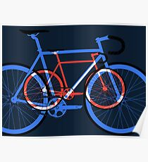 Fixed Gear Road Bikes – Blue, Purple and Red  Poster