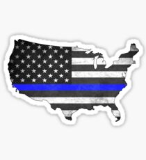 United States Silhouette Thin Blue Line Sticker