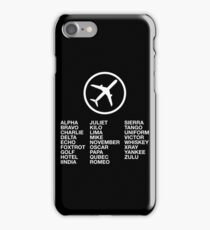 The Phonetic Alphabet with a picture of an airplane. iPhone Case/Skin