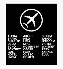 The Phonetic Alphabet with a picture of an airplane. Photographic Print