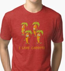 I love carrots, funny vegetables design, gift idea Tri-blend T-Shirt