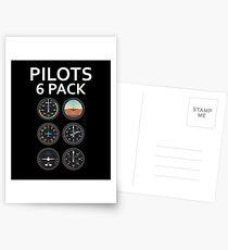Pilots Six Pack Airplane Instruments Postcards