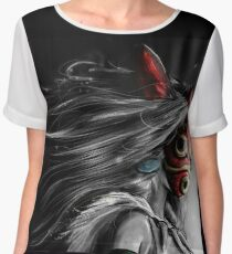 Mononoke Wolf Anime Tra Digital Painting Chiffon Top
