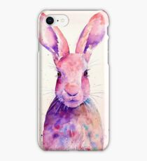 Watercolour rabbit portrait iPhone Case/Skin
