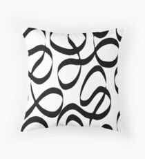 Bold Black and White Stripe Modern Swirl Throw Pillow