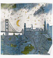 San Francisco skyline old map Poster