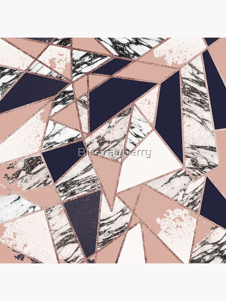 Geométrico Azul Marino Peach Marble Rose Gold Triangle de Blkstrawberry