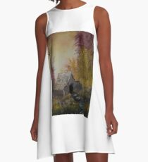 Shed with Trees A-Line Dress