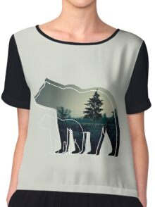 Creative photo with double exposure and line icon of the bear. Dark forest in the middle Chiffon Top