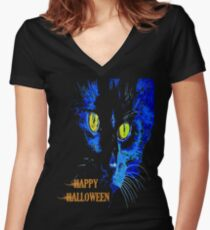 Black Cat Portrait with Happy Halloween Greeting Women's Fitted V-Neck T-Shirt