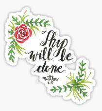 Handgemaltes Aquarell Matthäus 6:10 Sticker