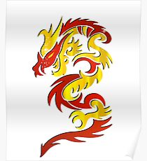 Red Yellow Dragon  Poster