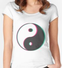 YinYang Transparent Tumblr Style Women's Fitted Scoop T-Shirt