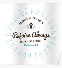 Rejoice in the Lord Always Scripture Emblem Poster
